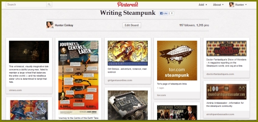 My Pinterest Board #Writing Steampunk# contains links to reference sites, and many images for inspiration.