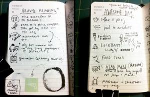 Austin Kleon's daily writing log book (Via Steal Like a Writer)