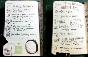 Austin Kleon's daily writing log book (Via Steal Like a Writer)