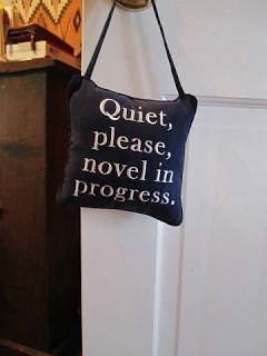 Door knob hanger - Lee Woodruff, author of In an Instant, has this hanging in her office where she writes her novels. Via HootSuite photos by Bookriot.com
