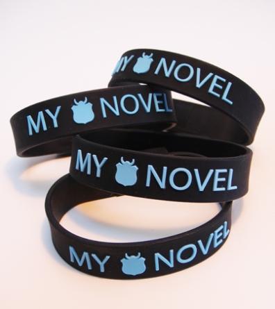 NaNo USB bracelet- https://store.lettersandlight.org/merchandise/your-nano-novel-2-gb-usb-bracelet