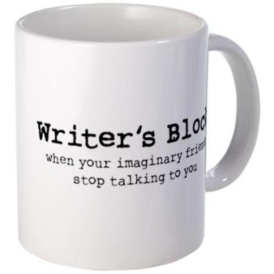 WRiter's Block mug via CafePress http://www.cafepress.com/+fictional_friends_journal,293967314
