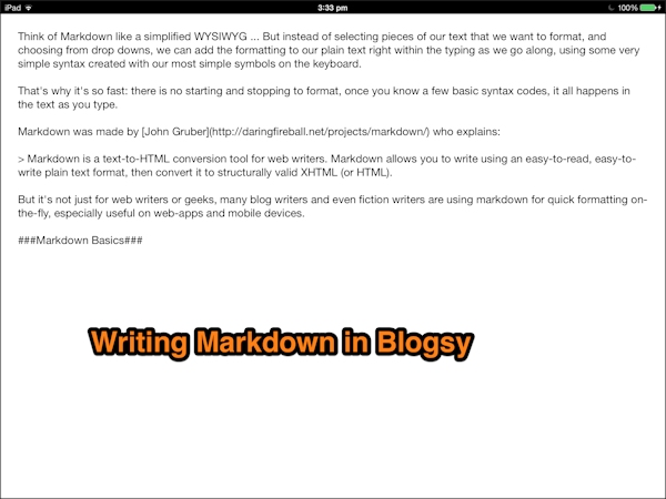 Blogsy App for iPAD - screenshot of Markdown post being written