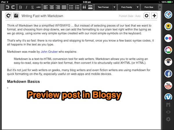 Once you hit the Markdown button (right, third from bottom) on Blogsy you can preview your output before publishing to a blog platform.