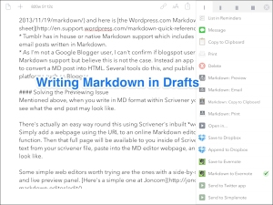 Drafts (for iPAD) has some sophisticated options for what to do with your text.