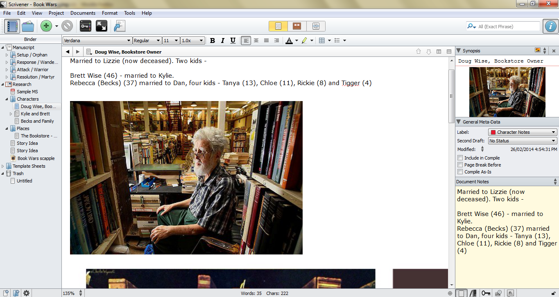Scrivener screenclip
