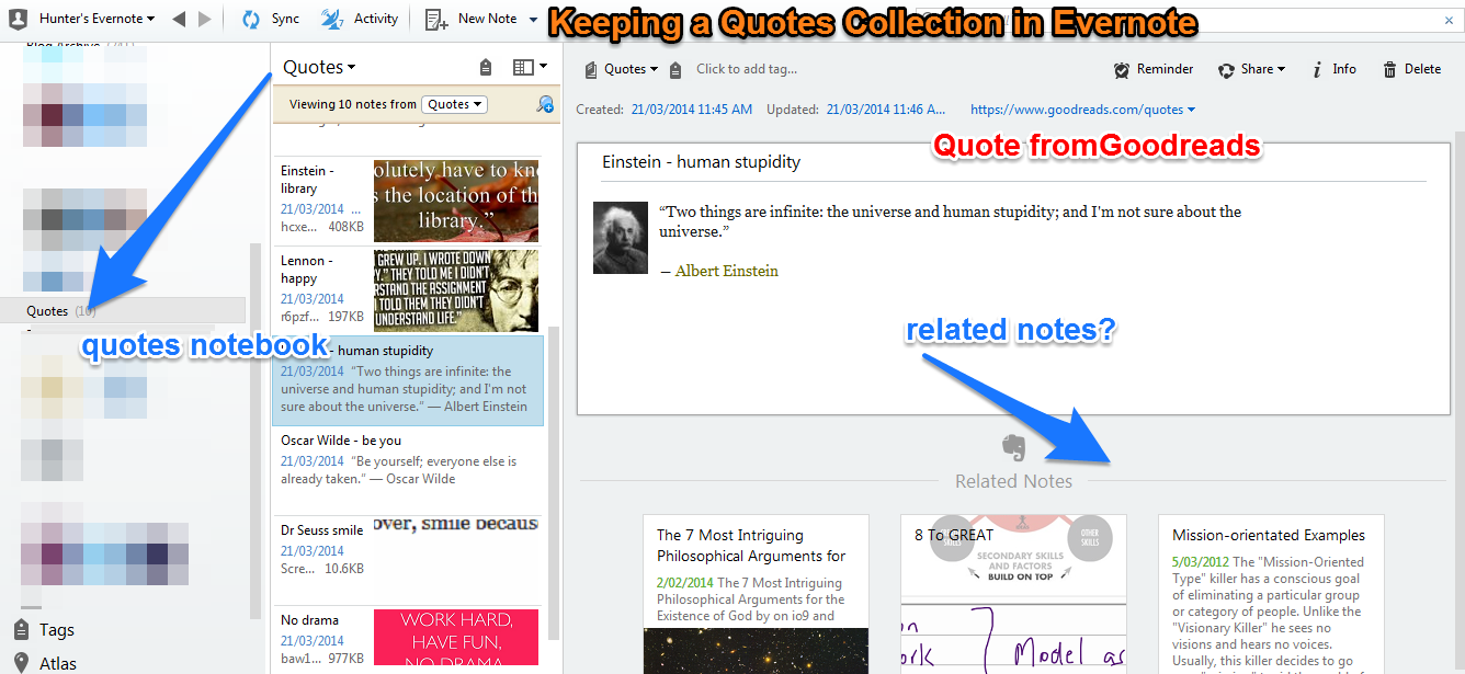 Quote Collection in Evernote