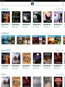 The Booktrack bookshelf through iPad app.
