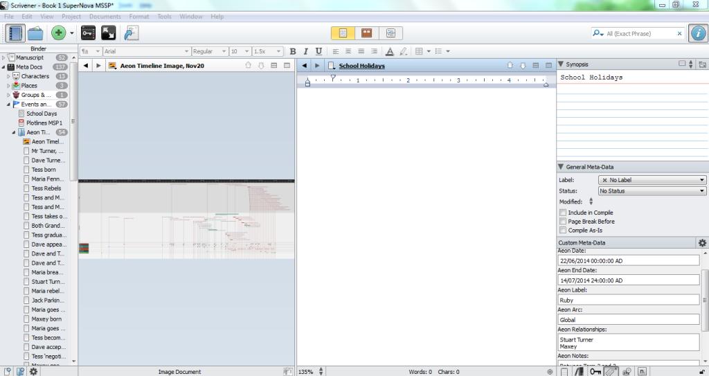 NaNo Aeon Timeline splitscreen in Scrivener