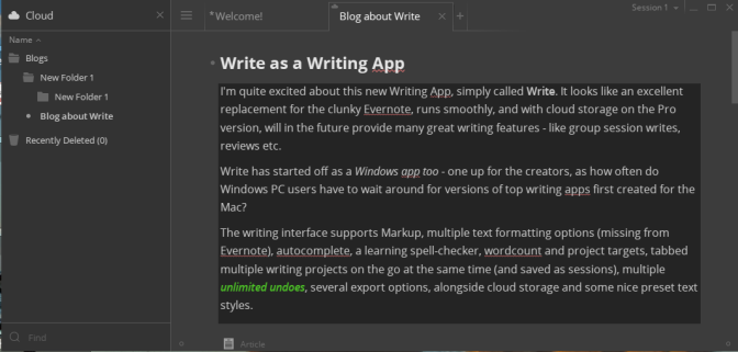 Write – a Writing App worthy of contention
